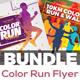 Color Run Event Flyer Bundle
