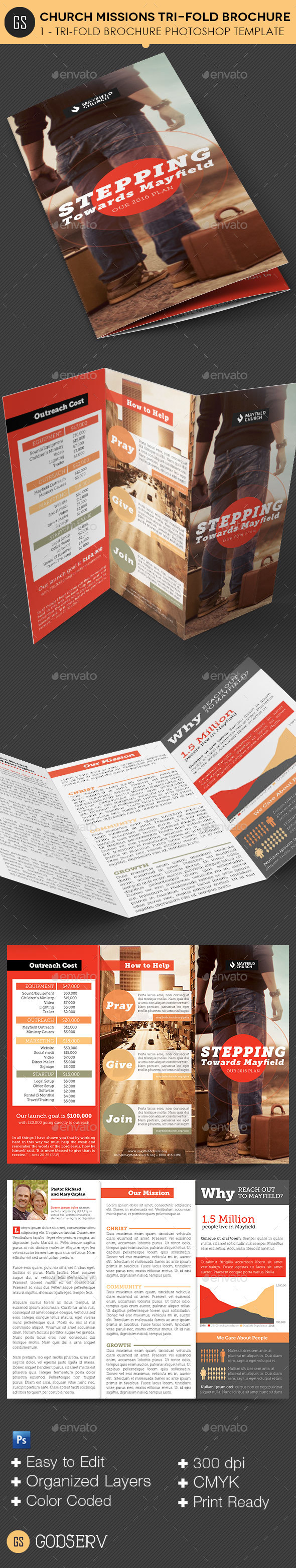 Church Missions TriFold Brochure Template By Godserv GraphicRiver - Informational brochure template