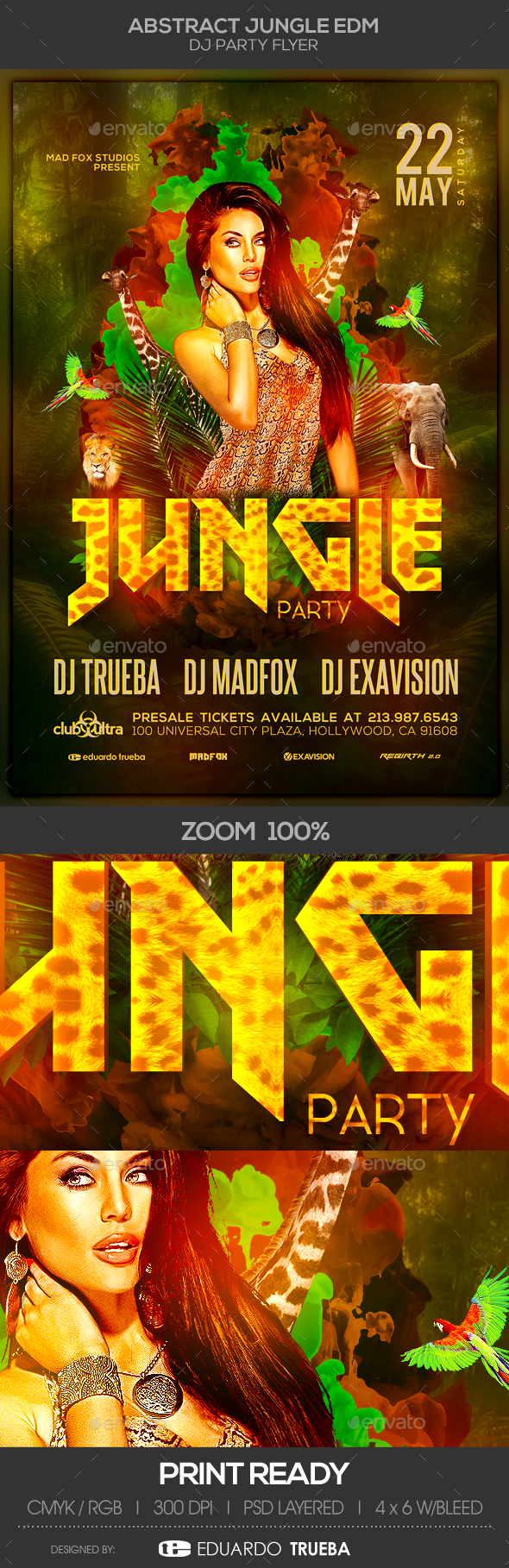 Abstract Jungle EDM Dj Party Flyer - Clubs & Parties Events