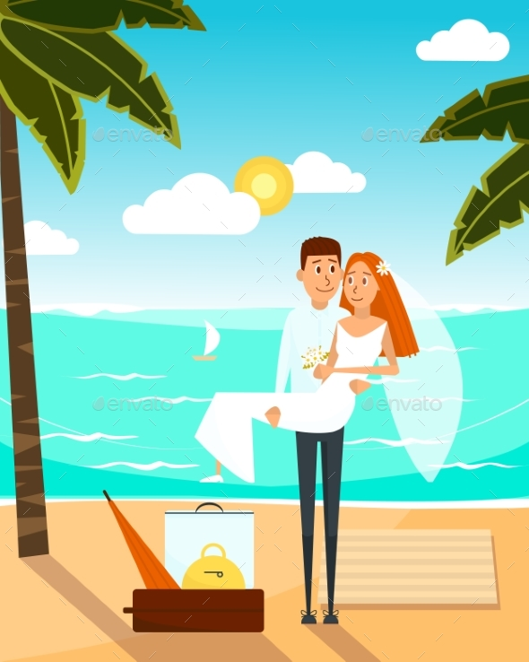 Just Married Couple Went To the Beach After - Weddings Seasons/Holidays