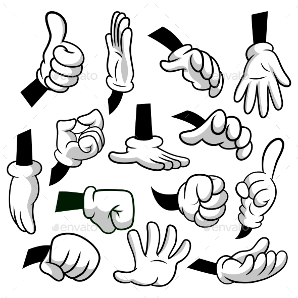 Cartoon Hands with Gloves Icon Set Isolated - Objects Vectors