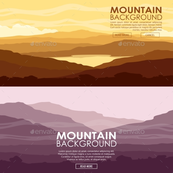 Set of Mountain Landscapes - Landscapes Nature