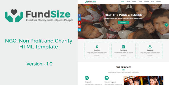 FundSize - NGO, Non Profit and Charity HTML Template - Nonprofit Site Templates