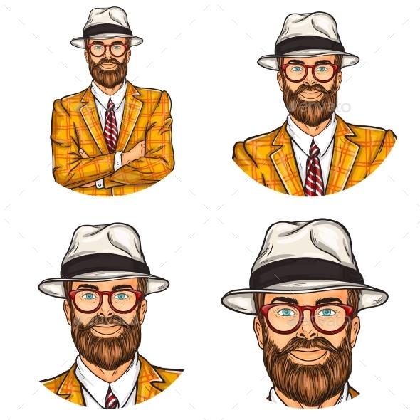 Set of Vector Illustration, Mens Pop Art Round - Web Technology
