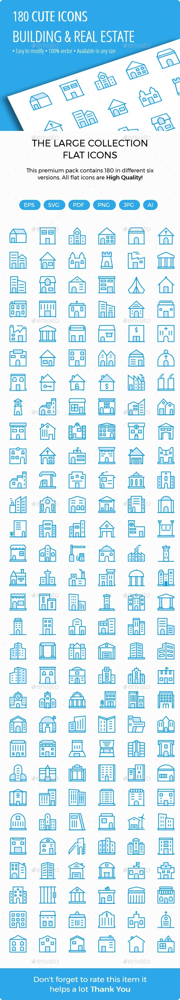 Building and Real Estate Cute Style Icons - Buildings Objects
