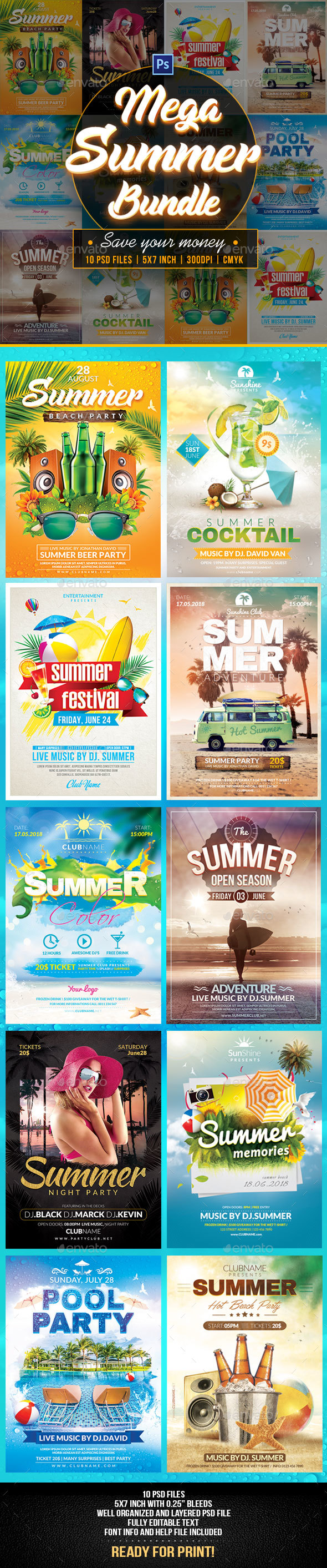 Summer Bundle Flyers Template - Flyers Print Templates