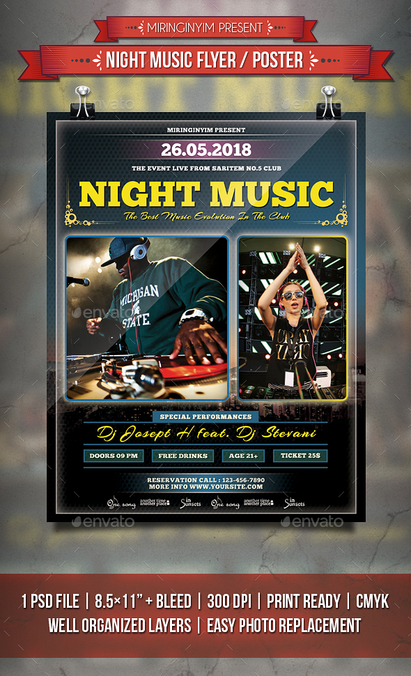 Night Music Flyer / Poster - Events Flyers