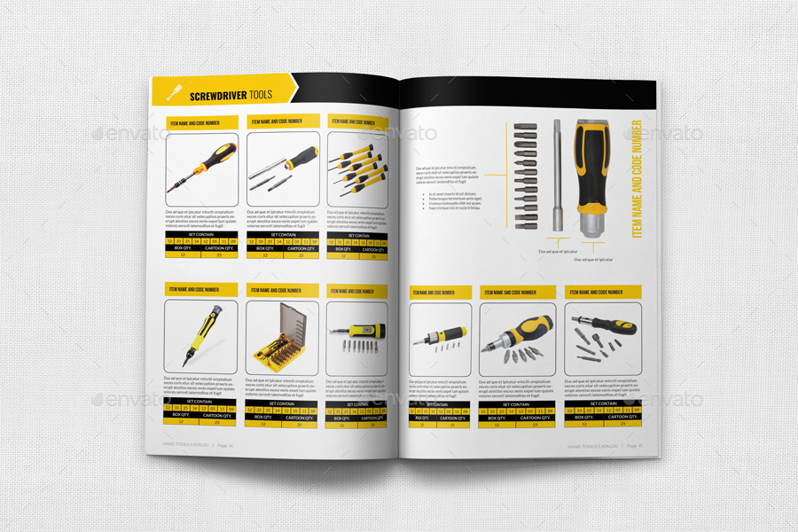 Hand tools catalog brochure bundle by owpictures for Product brochure templates