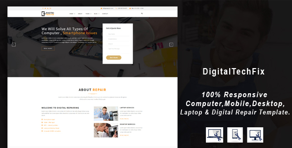 Digital Tech Fix –  Multipurpose Mobile, Computer, Electronic Servicing and Repairing HTML Template