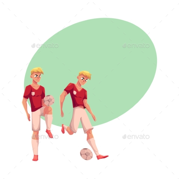 Handsome Blond Soccer Player in Uniform Standing - People Characters