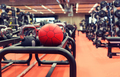 medicine ball and sports equipment in gym