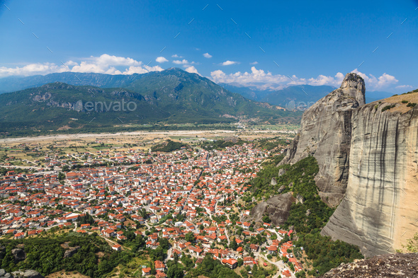 Panorama of Kalambaka city with rocy mountains of Meteora - Stock Photo - Images