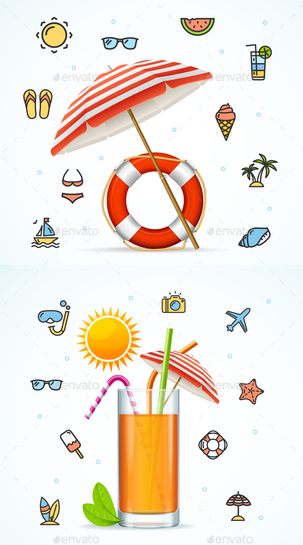 Hello Summer Concept Vacation on Beach. Vector - Travel Conceptual