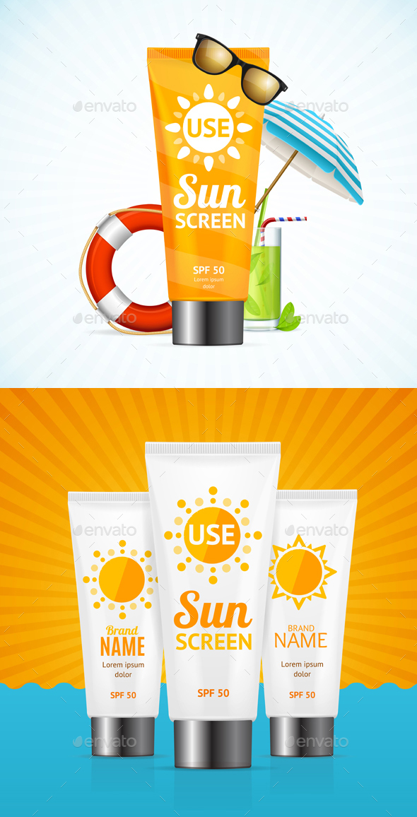 Sun Cream Summer Travel Concept. Vector - Conceptual Vectors