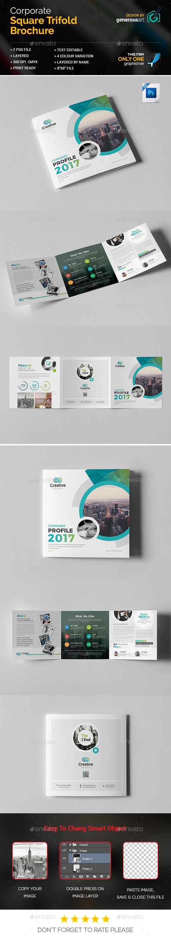 Company Profile Square Tri-Fold Brochure - Brochures Print Templates