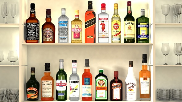 Liquor Bottles With Bar Unit Interior - 3DOcean Item for Sale