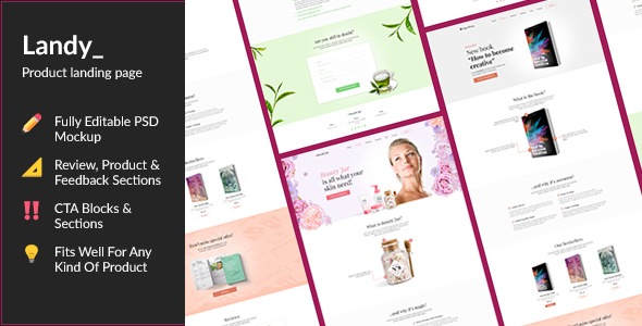 Landy — Product Promotion Landing Page PSD Template