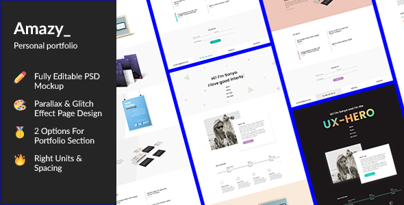 Amazy — Trendy and Creative PSD Personal Page for Designers, Illustrators and Developers