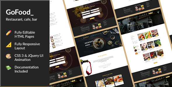 GoFood — HTML Template for Cafe, Bar and Restaurant