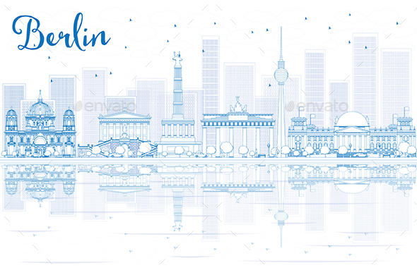 Outline Berlin Skyline with Blue Buildings and Reflections - Buildings Objects