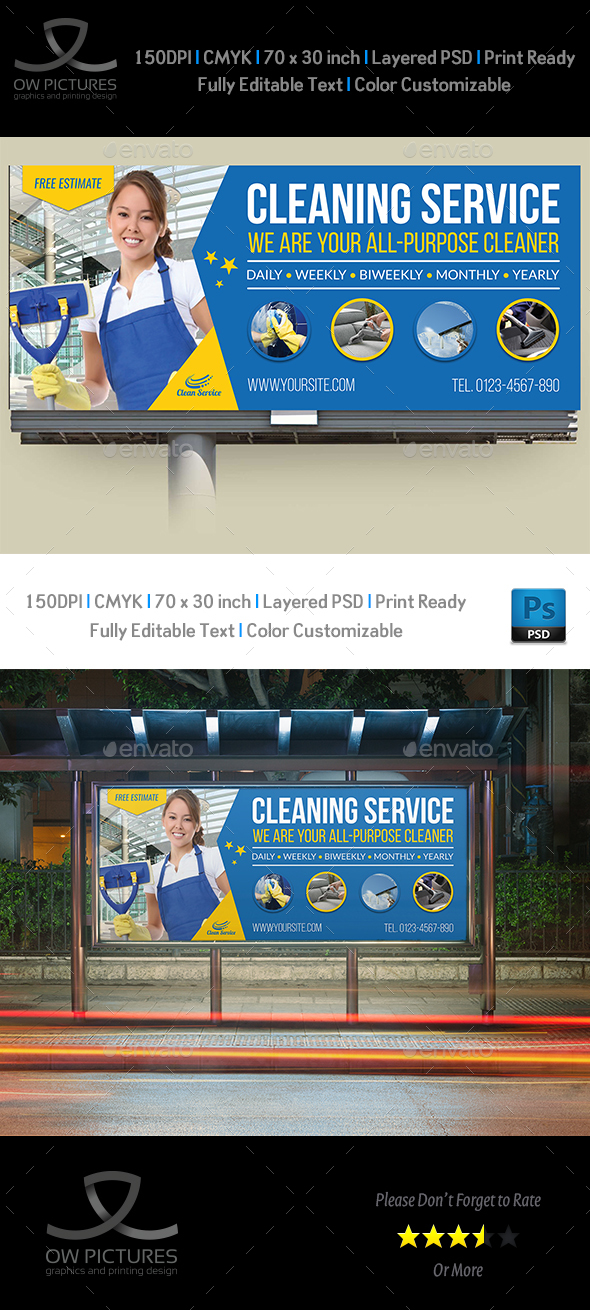 Cleaning Services Billboard Template Vol.4 - Signage Print Templates