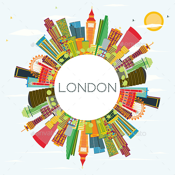 Abstract London Skyline with Color Buildings and Copy Space - Buildings Objects
