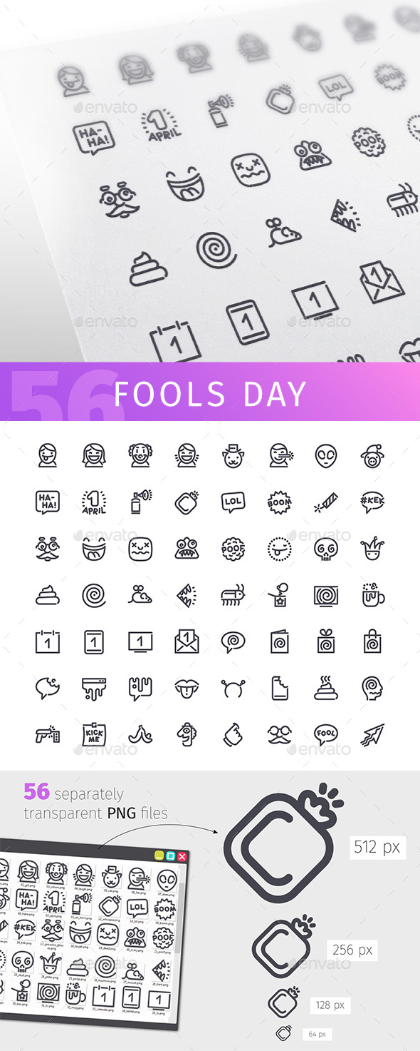 Fools Day Line Icons Set - Miscellaneous Icons