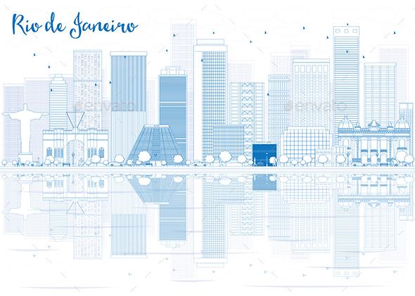 Outline Rio de Janeiro Skyline with Blue Buildings - Buildings Objects