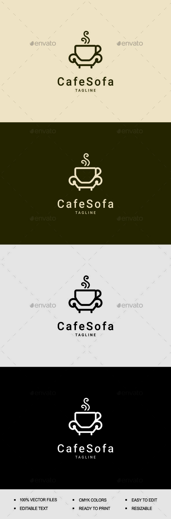 Cafe Sofa Logo - Restaurant Logo Templates