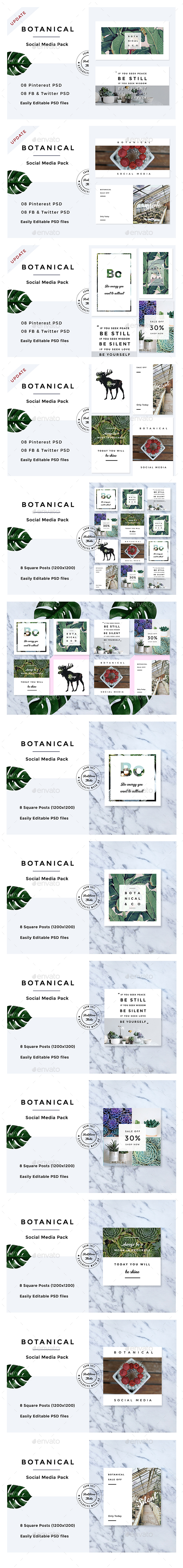 Botanical Social Media Pack - Social Media Web Elements