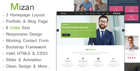 Mizan – One Page Business & Corporate HTML5 Template