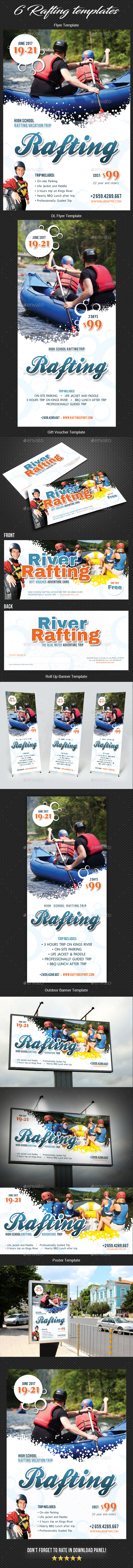 Rafting Flyer Poster Banner Bundle 2 - Signage Print Templates