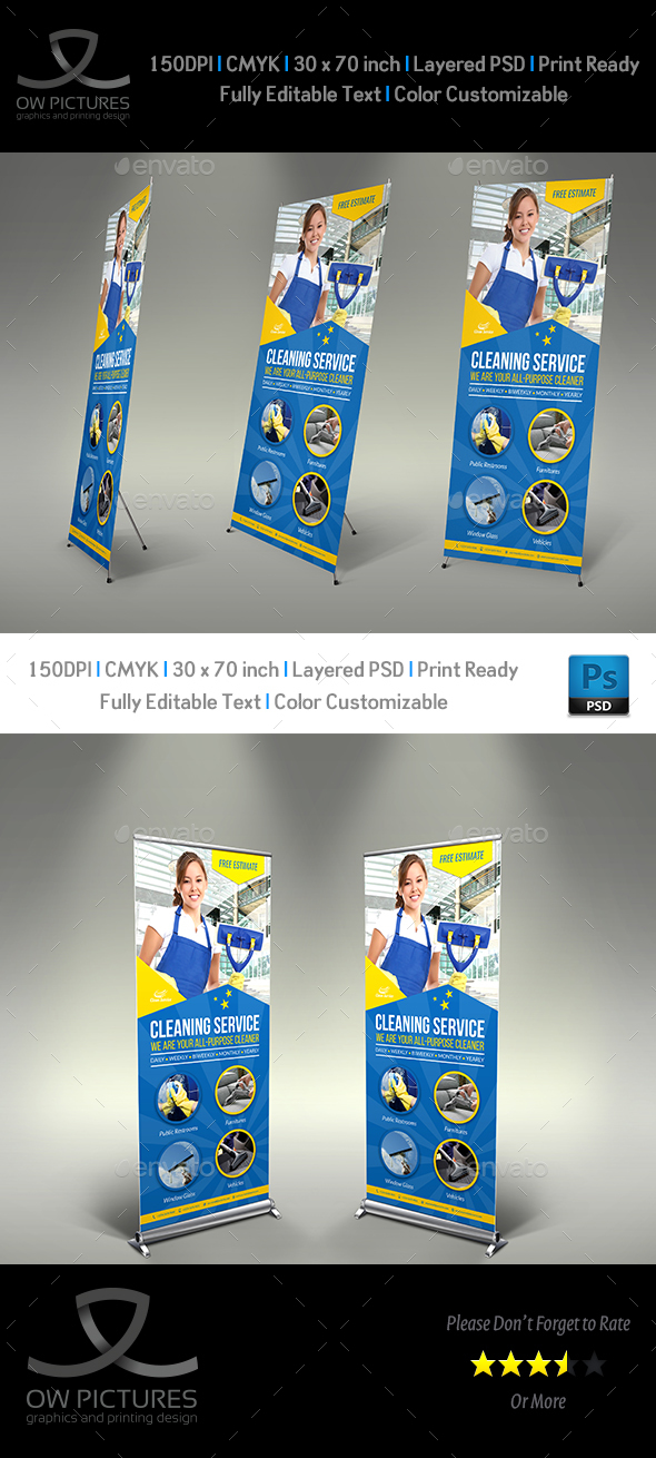 Cleaning Services Signage Banner Roll Up Template Vol.4 - Signage Print Templates