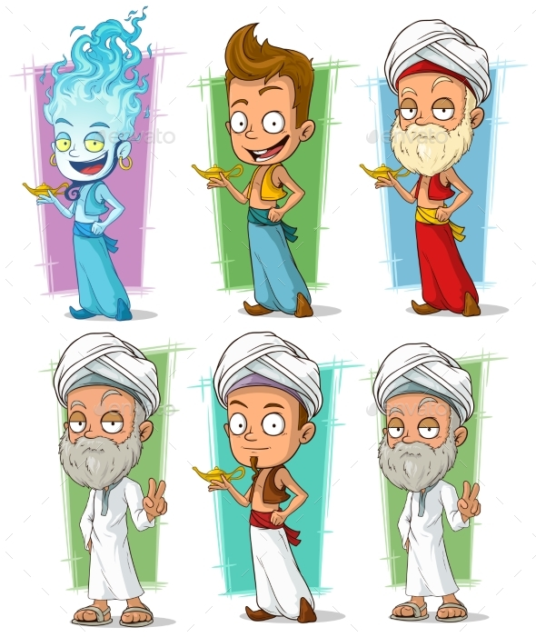 Cartoon Persian and Jinn with Lamp Character Set - People Characters