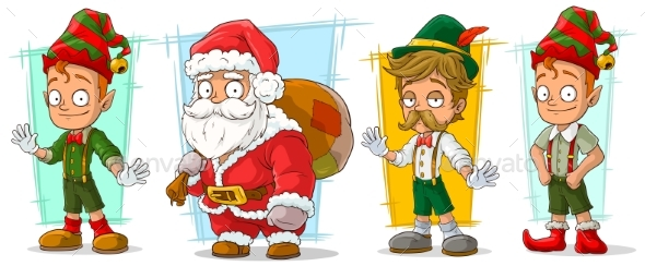 Cartoon Santa Claus and Elf Character Vector Set - Miscellaneous Characters