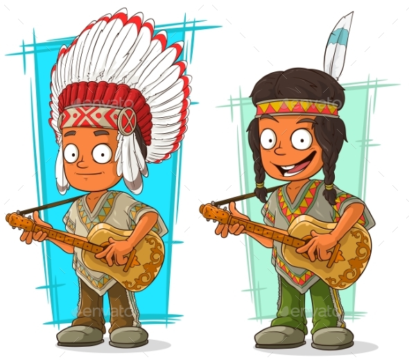 Cartoon Indian Chief and Boy Character Vector Set - People Characters