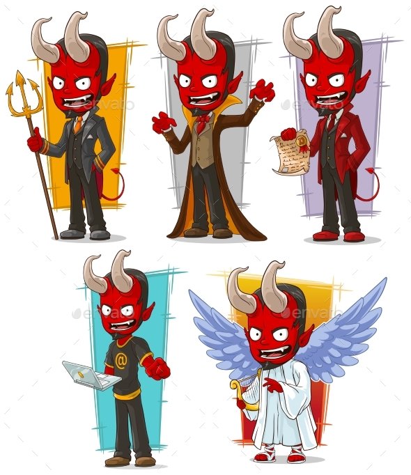 Cartoon Devils and Evil Angel Character Vector Set - Miscellaneous Characters