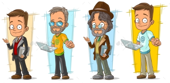 Cartoon Programmer with Laptop Character Set - People Characters