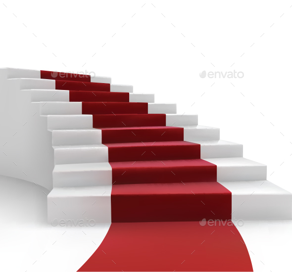 Stairs and Red Carpet - Backgrounds Decorative