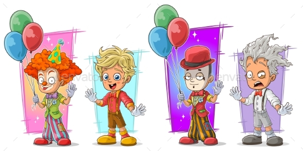 Cartoon Clown with Balloon Character Vector Set - Miscellaneous Characters