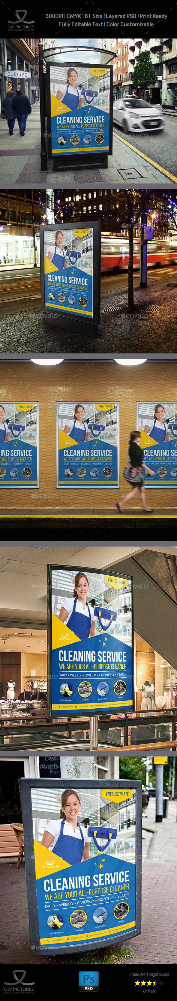 Cleaning Services Poster Template Vol.4 - Signage Print Templates
