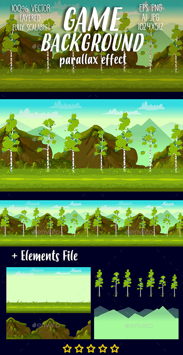 Forest and Stones 2D Game Landscape - Backgrounds Game Assets