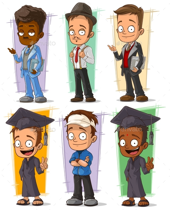Cartoon College Student Character Vector Set - People Characters