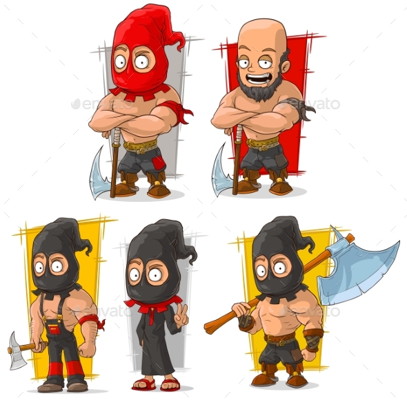 Cartoon Slayer with Big Axe Character Vector Set - Miscellaneous Characters
