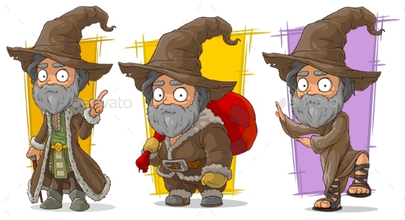 Cartoon Wizard with Big Hat Character Vector Set - Miscellaneous Characters