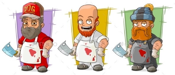 Cartoon Butcher with Knife Character Vector Set - People Characters