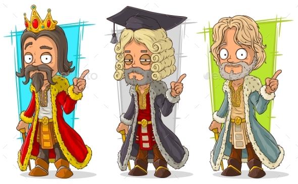 Cartoon Medieval King Judge Character Vector Set - People Characters