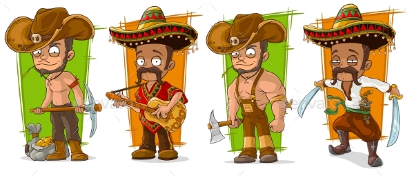 Cartoon Mexicans and Cowboys Character Vector Set - People Characters