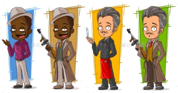 Cartoon Gangsters and Detective Character Set - People Characters