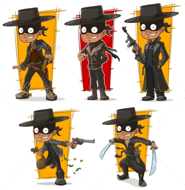 Cartoon Bandit in Black Mask Character Vector Set - People Characters